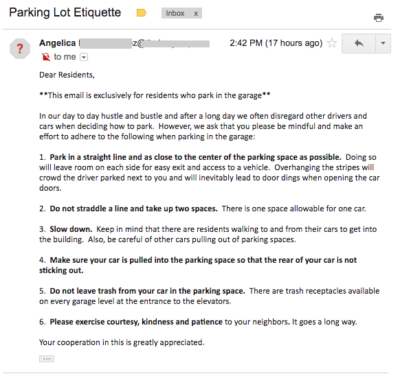 Parking Lot Etiquette Email